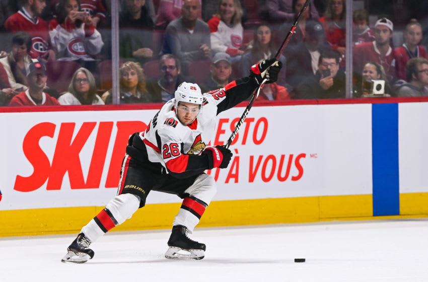 MONTREAL, QC - SEPTEMBER 28: Ottawa Senators defenceman Erik Brannstrom (26) shoots the puck during the Ottawa Senators versus the Montreal Canadiens preseason game on September 28, 2019, at Bell Centre in Montreal, QC (Photo by David Kirouac/Icon Sportswire via Getty Images)