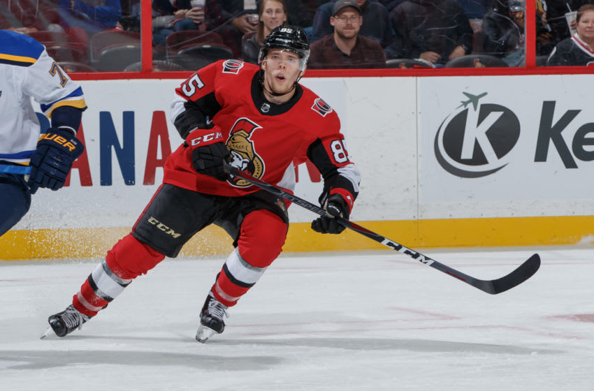 OTTAWA, ON - OCTOBER 10: Vitaly Abramov #85 of the Ottawa Senators skates against the St. Louis Blues at Canadian Tire Centre on October 10, 2019 in Ottawa, Ontario, Canada. (Photo by Andre Ringuette/NHLI via Getty Images)