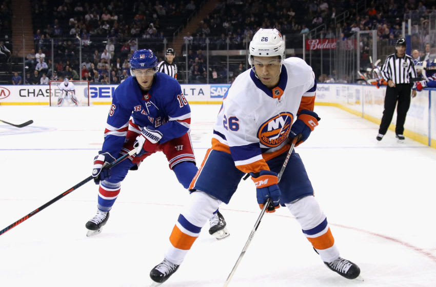 NEW YORK, NEW YORK - SEPTEMBER 24: Joshua Ho-Sang #26 of the New York Islanders skates against the New York Rangers during the first period at Madison Square Garden on September 24, 2019 in New York City. (Photo by Bruce Bennett/Getty Images)