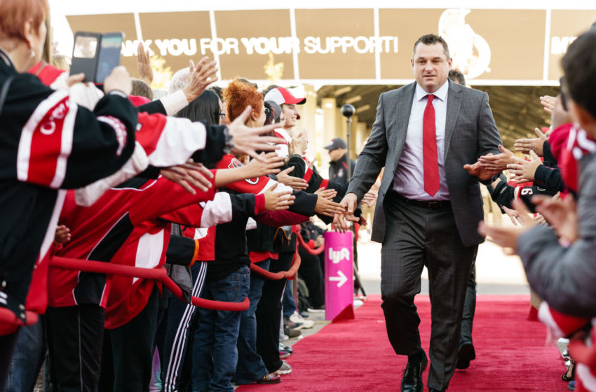 OTTAWA, ON - OCTOBER 5: Head Coach D.J. Smith of the Ottawa Senators arrives on the red carpet prior their NHL home opener against the New York Rangers at Canadian Tire Centre on October 5, 2019 in Ottawa, Ontario, Canada. (Photo by Jana Chytilova/Freestyle Photography/Getty Images)