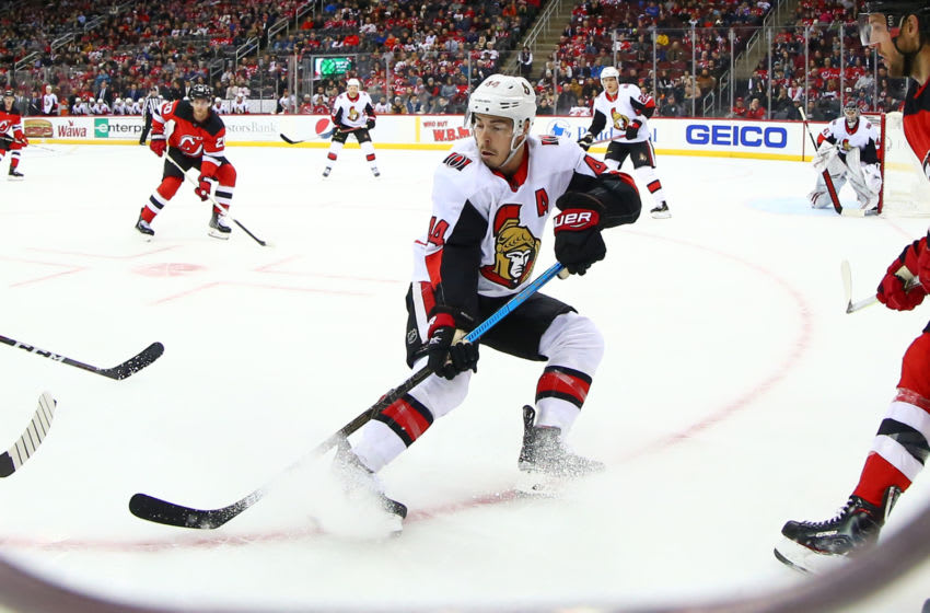 NEWARK, NJ - NOVEMBER 13: Ottawa Senators center Jean-Gabriel Pageau (44) skates during the first period of the National Hockey League game between the New Jersey Devils and the Ottawa Senators on November 13, 2019 at the Prudential Center in Newark, NJ. (Photo by Rich Graessle/Icon Sportswire via Getty Images)