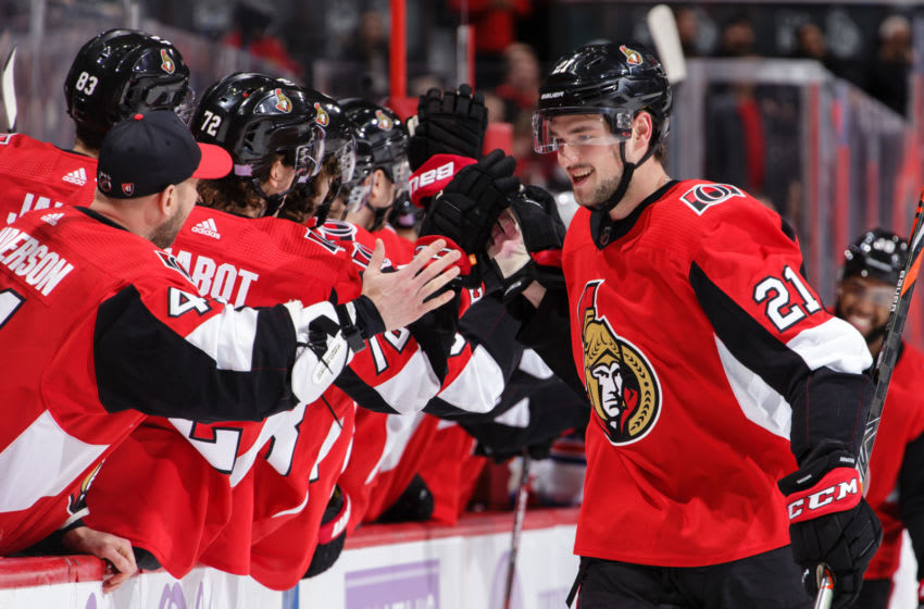 OTTAWA, ON - NOVEMBER 22: Logan Brown #21 of the Ottawa Senators celebrates his first career NHL goal against the New York Rangers in the first period at Canadian Tire Centre on November 22, 2019 in Ottawa, Ontario, Canada. (Photo by Jana Chytilova/Freestyle Photography/Getty Images)
