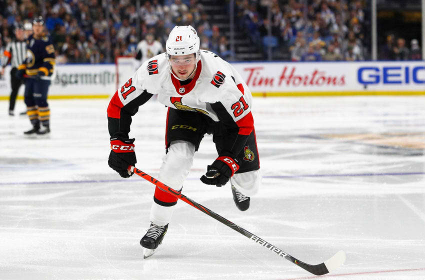 BUFFALO, NY - NOVEMBER 16: Logan Brown #21 of the Ottawa Senators skates up ice during the third period of play at KeyBank Center on November 16, 2019 in Buffalo, New York. (Photo by Nicholas T. LoVerde/Getty Images)