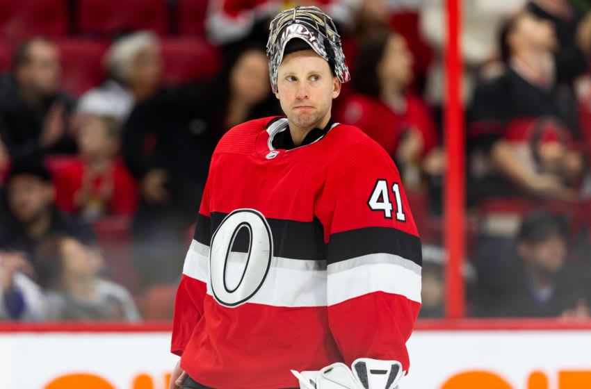 OTTAWA, ON - DECEMBER 23: Ottawa Senators goaltender Craig Anderson (41) with mask up after a whistle during first period National Hockey League action between the Buffalo Sabres and Ottawa Senators on December 23, 2019, at Canadian Tire Centre in Ottawa, ON, Canada. (Photo by Richard A. Whittaker/Icon Sportswire via Getty Images)