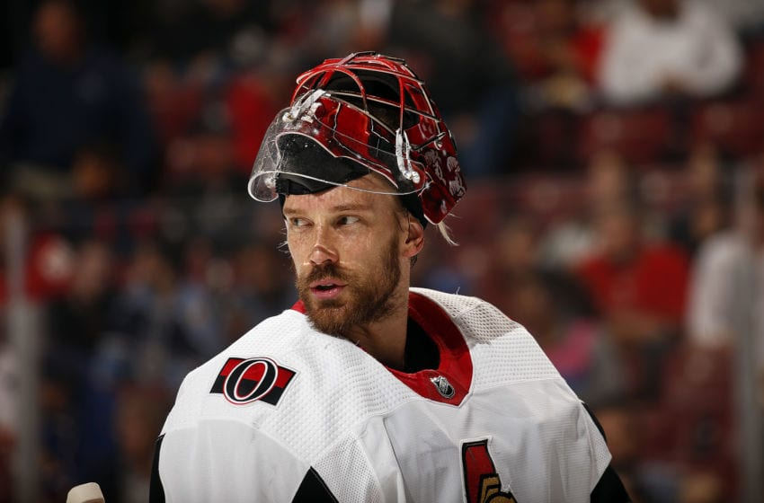 SUNRISE, FL - DECEMBER 16: Goaltender Anders Nilsson #31 of the Ottawa Senators skates back to the net after a break in the action against the Florida Panthers at the BB&T Center on December 16, 2019 in Sunrise, Florida. (Photo by Eliot J. Schechter/NHLI via Getty Images)