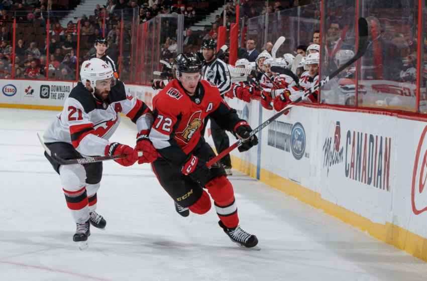 OTTAWA, ON - DECEMBER 29: Thomas Chabot #72 of the Ottawa Senators skates against Kyle Palmieri #21 the New Jersey Devils at Canadian Tire Centre on December 29, 2019 in Ottawa, Ontario, Canada. (Photo by Andre Ringuette/NHLI via Getty Images)