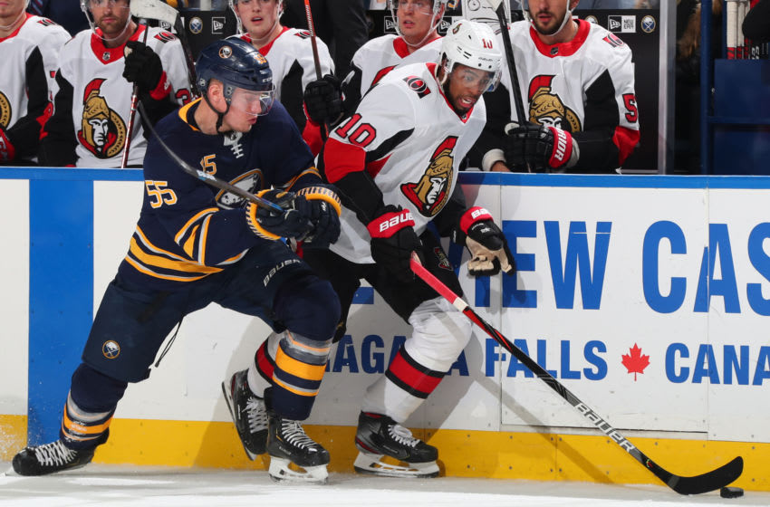 BUFFALO, NY - JANUARY 28: Anthony Duclair #10 of the Ottawa Senators controls the puck against Rasmus Ristolainen #55 of the Buffalo Sabres during an NHL game on January 28, 2020 at KeyBank Center in Buffalo, New York. (Photo by Bill Wippert/NHLI via Getty Images)