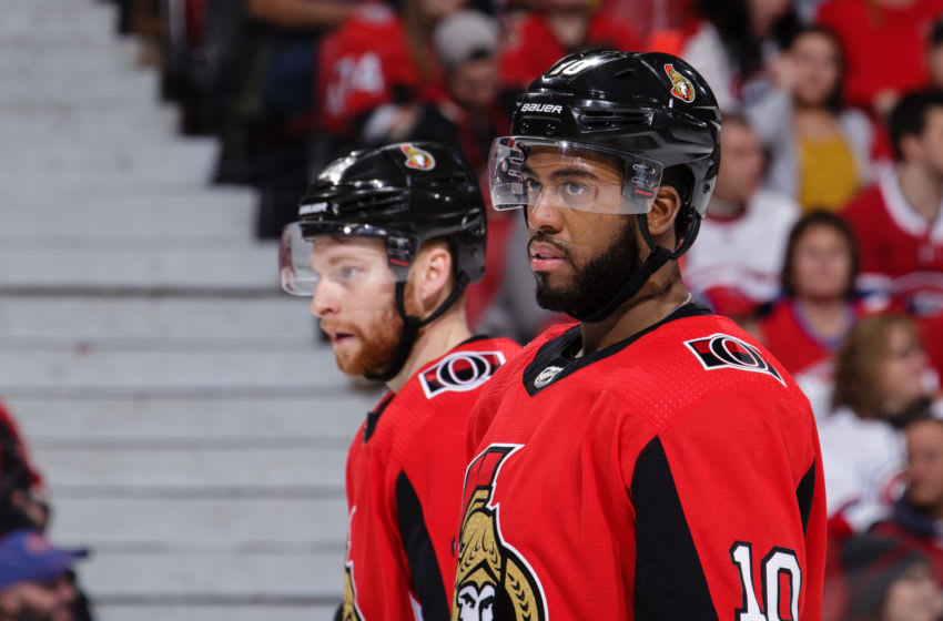 OTTAWA, ON - JANUARY 11: Anthony Duclair #10 and Connor Brown #28 of the Ottawa Senators look on during a stoppage in a game against the Montreal Canadiens at Canadian Tire Centre on January 11, 2020 in Ottawa, Ontario, Canada. (Photo by Jana Chytilova/Freestyle Photography/Getty Images)