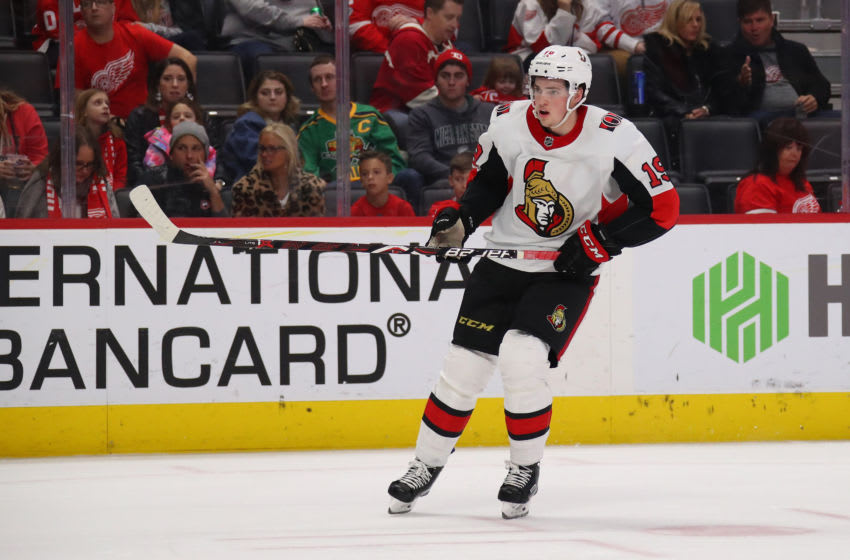 DETROIT, MICHIGAN - JANUARY 10: Drake Batherson #19 of the Ottawa Senators skates against the Detroit Red Wings at Little Caesars Arena on January 10, 2020 in Detroit, Michigan. (Photo by Gregory Shamus/Getty Images)