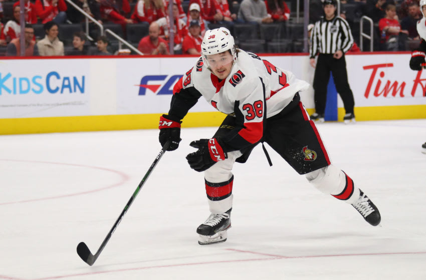 DETROIT, MICHIGAN - JANUARY 10: Rudolfs Balcers #38 of the Ottawa Senators skates against the Detroit Red Wings at Little Caesars Arena on January 10, 2020 in Detroit, Michigan. (Photo by Gregory Shamus/Getty Images)