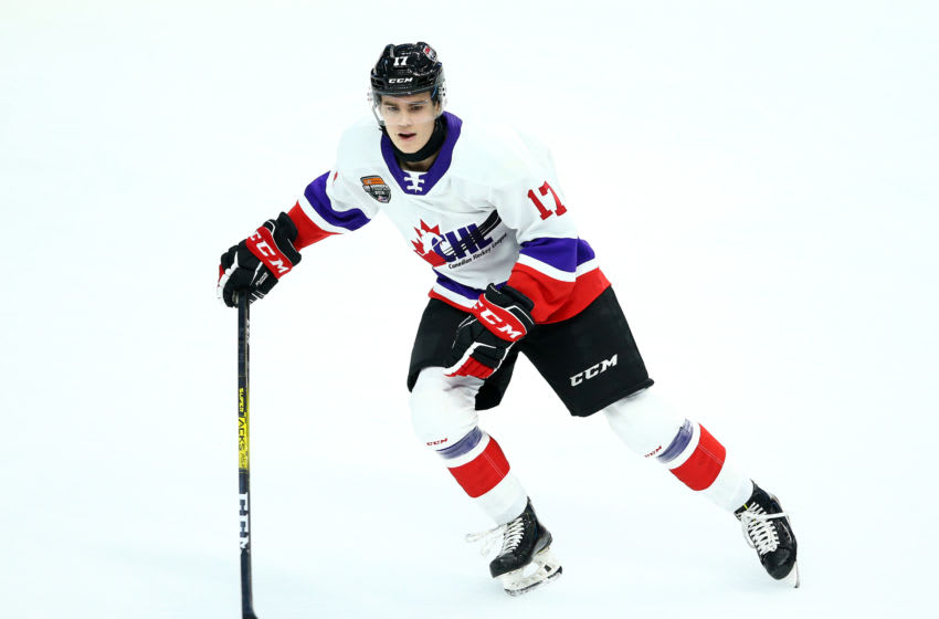 HAMILTON, ON - JANUARY 16: Ridly Greig #17 of Team White skates during the 2020 CHL/NHL Top Prospects Game against Team Red at FirstOntario Centre on January 16, 2020 in Hamilton, Canada. (Photo by Vaughn Ridley/Getty Images)