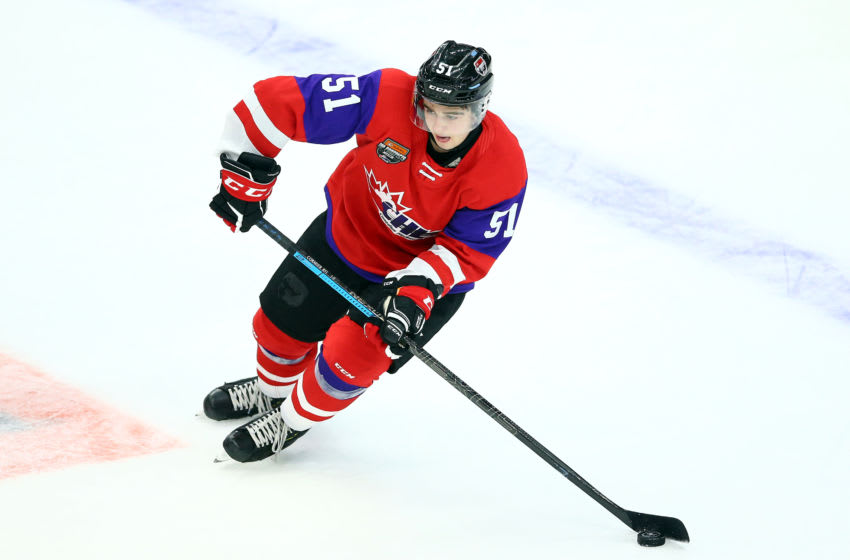 HAMILTON, ON - JANUARY 16: Lukas Cormier #51 of Team Red skates during the 2020 CHL/NHL Top Prospects Game against Team White at FirstOntario Centre on January 16, 2020 in Hamilton, Canada. (Photo by Vaughn Ridley/Getty Images)