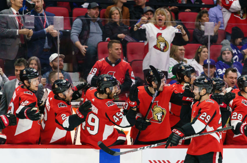 OTTAWA, ON - FEBRUARY 15: Cody Goloubef #29 of the Ottawa Senators celebrates his third period goal with team mates Nikita Zaitsev #22, Dylan DeMelo #2, Scott Sabourin #49 and Nick Paul #13 against the Toronto Maple Leafs at Canadian Tire Centre on February 15, 2020 in Ottawa, Ontario, Canada. (Photo by Jana Chytilova/Freestyle Photography/Getty Images)