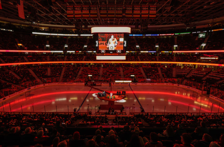 OTTAWA, ON - FEBRUARY 18: Former Ottawa Senators player Chris Phillips speaks during his jersey retirement ceremony prior to a game between the Ottawa Senators and the Buffalo Sabres at Canadian Tire Centre on February 18, 2020 in Ottawa, Ontario, Canada. (Photo by Jana Chytilova/Freestyle Photography/Getty Images)