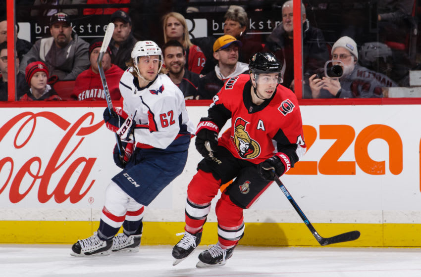 OTTAWA, ON - JANUARY 31: Jean-Gabriel Pageau #44 of the Ottawa Senators skates against Carl Hagelin #62 of the Washington Capitals at Canadian Tire Centre on January 31, 2020 in Ottawa, Ontario, Canada. (Photo by Jana Chytilova/Freestyle Photography/Getty Images)