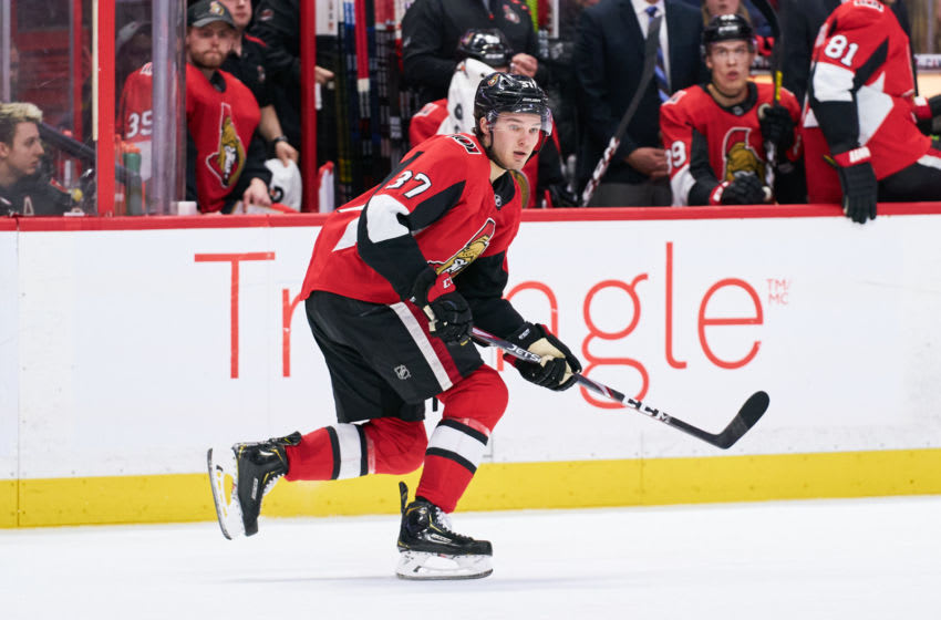 OTTAWA, ON - FEBRUARY 22: Josh Norris #37 of the Ottawa Senators skates against the Montreal Canadiens at Canadian Tire Centre on February 22, 2020 in Ottawa, Ontario, Canada. (Photo by Jana Chytilova/Freestyle Photography/Getty Images)