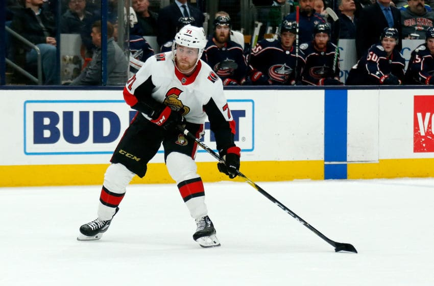 COLUMBUS, OH - FEBRUARY 24: Chris Tierney #71 of the Ottawa Senators controls the puck during the game against the Columbus Blue Jackets on February 24, 2020 at Nationwide Arena in Columbus, Ohio. (Photo by Kirk Irwin/Getty Images)