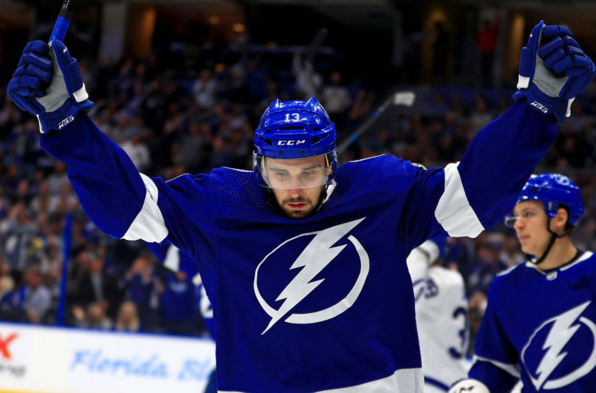 TAMPA, FLORIDA - FEBRUARY 25: Cedric Paquette #13 of the Tampa Bay Lightning reacts to a goal during a game against the Toronto Maple Leafs at Amalie Arena on February 25, 2020 in Tampa, Florida. (Photo by Mike Ehrmann/Getty Images)
