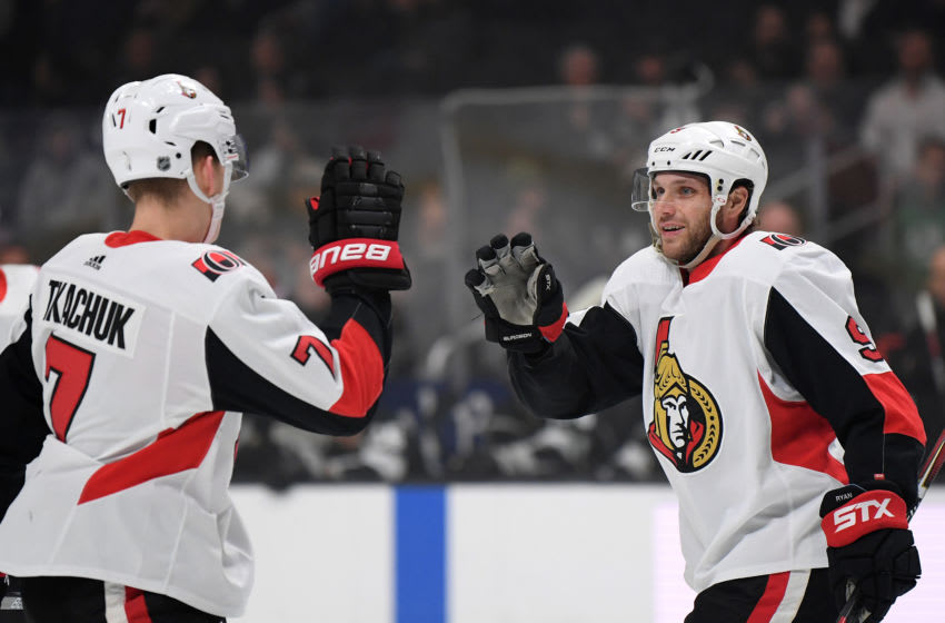 LOS ANGELES, CALIFORNIA - MARCH 11: Bobby Ryan #9 of the Ottawa Senators celebrates his goal with Brady Tkachuk #7, to take a 1-0 lead over the Los Angeles Kings, during the first period at Staples Center on March 11, 2020 in Los Angeles, California. (Photo by Harry How/Getty Images)