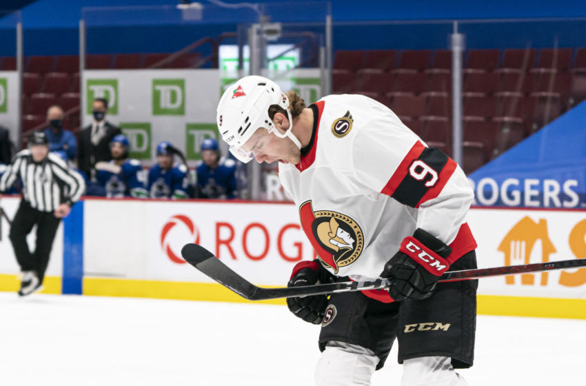 VANCOUVER, BC - JANUARY 27: Josh Norris #9 of the Ottawa Senators celebrates after scoring a goal against the Vancouver Canucks during NHL hockey action at Rogers Arena on January 27, 2021 in Vancouver, Canada. (Photo by Rich Lam/Getty Images)