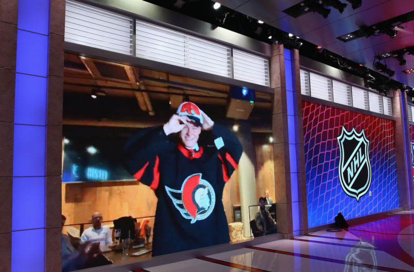 SECAUCUS, NEW JERSEY - OCTOBER 06: With the third pick of the 2020 NHL Draft, Tim Stuetzle of Mannheim of Germany is selected by the Ottawa Senators at the NHL Network Studio on October 06, 2020 in Secaucus, New Jersey. (Photo by Mike Stobe/Getty Images)