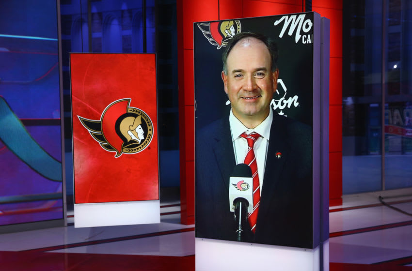 SECAUCUS, NEW JERSEY - OCTOBER 06: Ottawa Senators GM Pierre Dorion is interviewed during the first round of the 2020 National Hockey League (NHL) Draft at the NHL Network Studio on October 06, 2020 in Secaucus, New Jersey. (Photo by Mike Stobe/Getty Images)