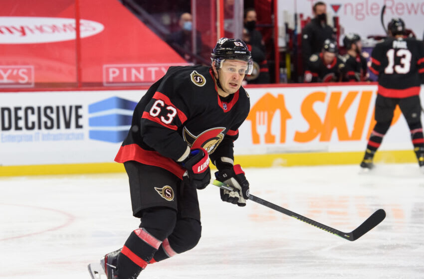 OTTAWA, ON - JANUARY 15: Evgenii Dadonov #63 of the Ottawa Senators skates against the Toronto Maple Leafs at Canadian Tire Centre on January 15, 2021 in Ottawa, Ontario, Canada. (Photo by Matt Zambonin/Freestyle Photography/Getty Images)