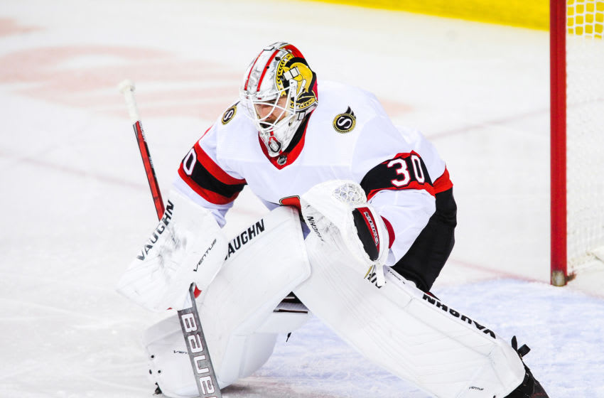 CALGARY, AB - MARCH 4: Matt Murray #30 of the Ottawa Senators in action against the Calgary Flames during an NHL game at Scotiabank Saddledome on March 4, 2021 in Calgary, Alberta, Canada. (Photo by Derek Leung/Getty Images)