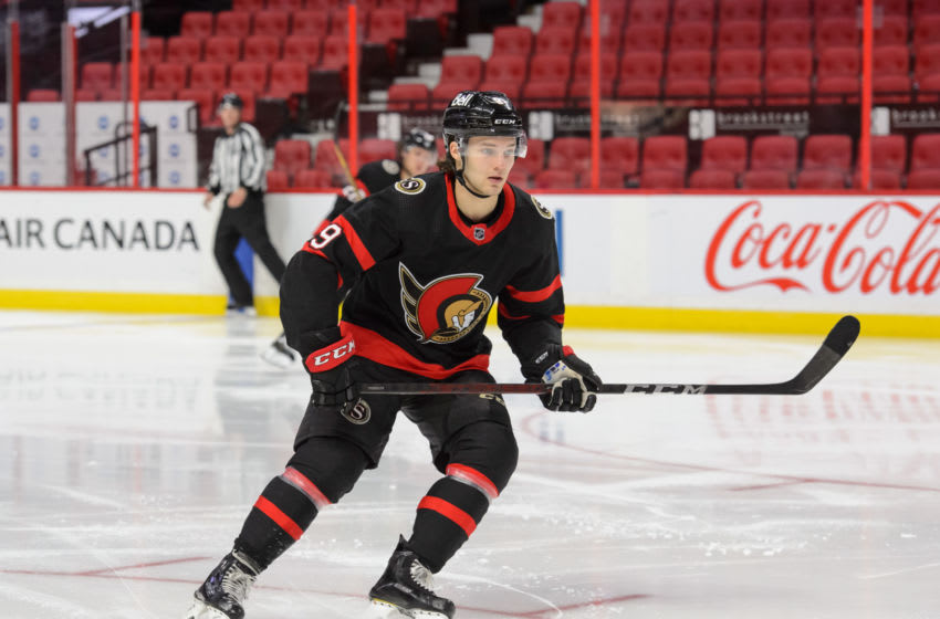 OTTAWA, ON - MARCH 1: Josh Norris #9 of the Ottawa Senators skates against the Calgary Flames at Canadian Tire Centre on March 1, 2021 in Ottawa, Ontario, Canada. (Photo by Matt Zambonin/Freestyle Photography/Getty Images)