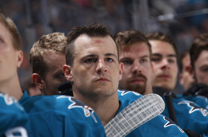 SAN JOSE, CA - APRIL 08: Michael Haley #38 of the San Jose Sharks looks on during the National anthem of the game against the Calgary Flames at SAP Center on April 8, 2017 in San Jose, California. (Photo by Rocky W. Widner/NHL/Getty Images)