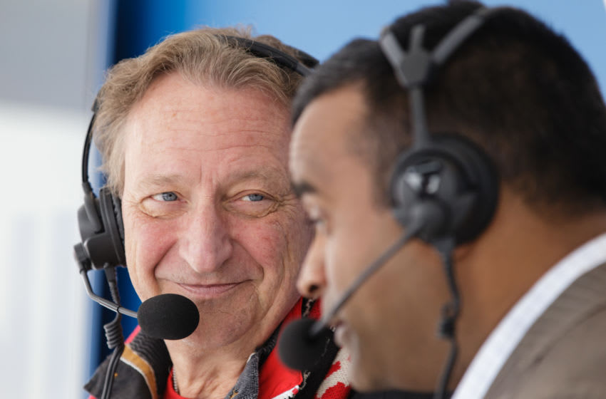 OTTAWA, ON - APRIL 15: Eugene Melnyk, owner, governor, and chairman of the Ottawa Senators speaks about The Organ Project on TSN 1200 radio prior to the start of the game between the Boston Bruins and the Ottawa Senators in Game Two of the Eastern Conference First Round during the 2017 NHL Stanley Cup Playoffs at Canadian Tire Centre on April 15, 2017 in Ottawa, Ontario, Canada. (Photo by Jana Chytilova/Freestyle Photography/Getty Images)