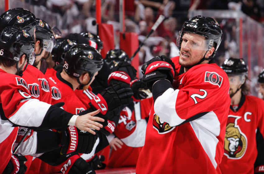 OTTAWA, ON - MAY 6: Dion Phaneuf #2 of the Ottawa Senators celebrates a third period game tying goal scored by teammate Derick Brassard #19 (not shown) against the New York Rangers in Game Five of the Eastern Conference Second Round during the 2017 NHL Stanley Cup Playoffs at Canadian Tire Centre on May 6, 2017 in Ottawa, Ontario, Canada. (Photo by Jana Chytilova/Freestyle Photography/Getty Images) *** Local Caption ***