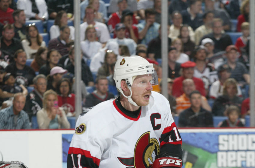 BUFFALO, NY- MAY 10: Daniel Alfredsson #11 of the Ottawa Senators skates against the Buffalo Sabres in game three of the Eastern Conference Semifinals during the 2006 NHL Playoffs on May 10, 2006 at HSBC Arena in Buffalo, New York. The Sabres won 3-2 in overtime. (Photo by Rick Stewart/Getty Images)