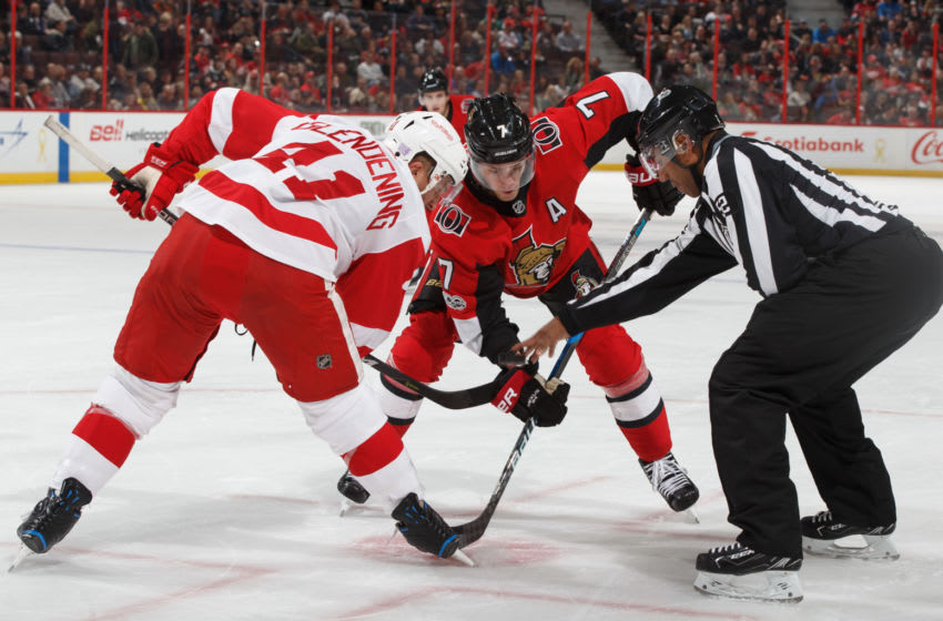 OTTAWA, ON - NOVEMBER 2: Kyle Turris #7 of the Ottawa Senators faces off against Luke Glendening #41 of the Detroit Red Wings at Canadian Tire Centre on November 2, 2017 in Ottawa, Ontario, Canada. (Photo by Andre Ringuette/NHLI via Getty Images)