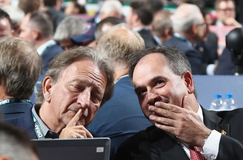 DALLAS, TX - JUNE 22: Eugene Melynk and Pierre Dorion of the Ottawa Senators attend the first round of the 2018 NHL Draft at American Airlines Center on June 22, 2018 in Dallas, Texas. (Photo by Bruce Bennett/Getty Images)