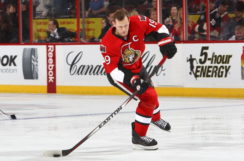 TTAWA, CANADA - APRIL 12: Jason Spezza #19 of the Ottawa Senators fires the puck during warmup prior to their game against the Toronto Maple Leafs on April 12, 2014 at Canadian Tire Centre in Ottawa, Ontario, Canada. (Photo by Francois Laplante/FreestylePhoto/Getty Images)