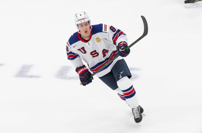 EDMONTON, AB - DECEMBER 25: Jake Sanderson #8 of the United States skates against Russia during the 2021 IIHF World Junior Championship at Rogers Place on December 25, 2020 in Edmonton, Canada. (Photo by Codie McLachlan/Getty Images)