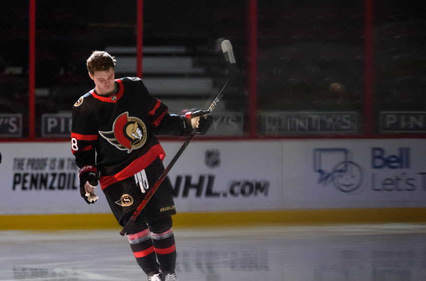 OTTAWA, ON - JANUARY 15: Tim Stützle #18 of the Ottawa Senators skates out for his first NHL game against the Toronto Maple Leafs at Canadian Tire Centre on January 15, 2021 in Ottawa, Ontario, Canada. (Photo by Matt Zambonin/Freestyle Photography/Getty Images)