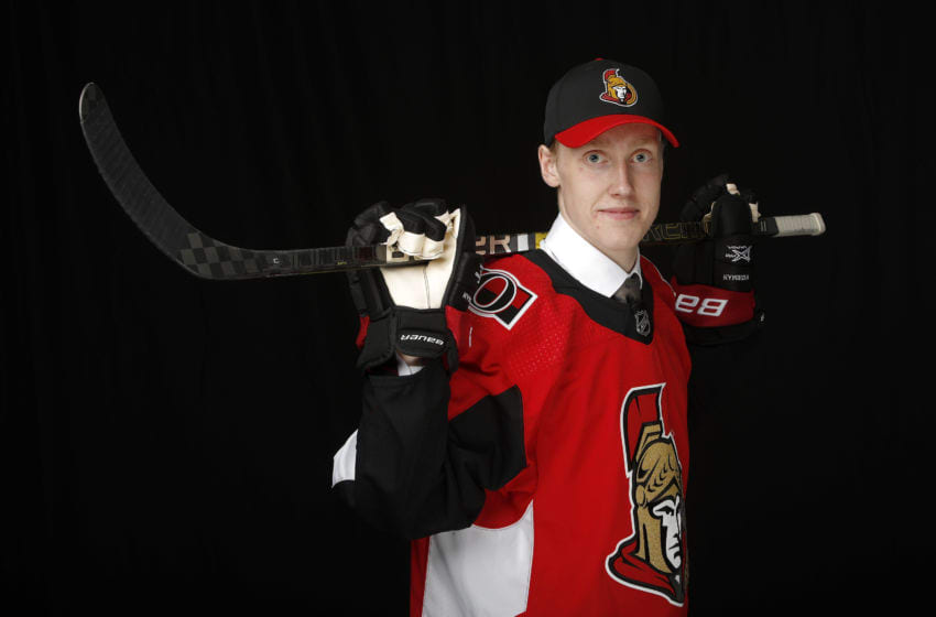 VANCOUVER, BRITISH COLUMBIA - JUNE 21: Lassi Thomson poses for a portrait after being selected nineteenth overall by the Ottawa Senators during the first round of the 2019 NHL Draft at Rogers Arena on June 21, 2019 in Vancouver, Canada. (Photo by Kevin Light/Getty Images)