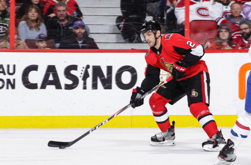 OTTAWA, ON - JANUARY 11: Dylan DeMelo #2 of the Ottawa Senators skates with the puck against the Montreal Canadiens at Canadian Tire Centre on January 11, 2020 in Ottawa, Ontario, Canada. (Photo by Jana Chytilova/Freestyle Photography/Getty Images)