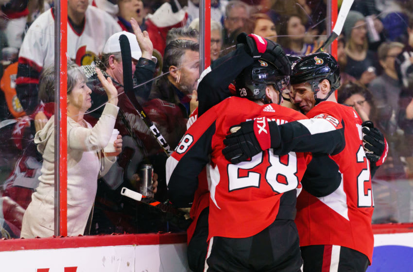 OTTAWA, ON - FEBRUARY 15: Connor Brown #28 of the Ottawa Senators celebrates his second period goal with teammate Nikita Zaitsev #22 against the Toronto Maple Leafs at Canadian Tire Centre on February 15, 2020 in Ottawa, Ontario, Canada. (Photo by Jana Chytilova/Freestyle Photography/Getty Images)