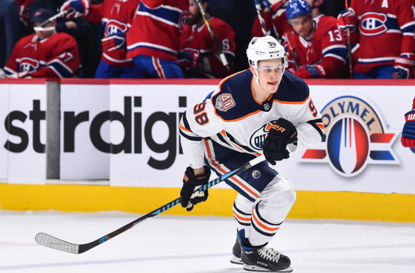 MONTREAL, QC - FEBRUARY 03: Jesse Puljujarvi #98 of the Edmonton Oilers skates against the Montreal Canadiens during the NHL game at the Bell Centre on February 3, 2019 in Montreal, Quebec, Canada. The Montreal Canadiens defeated the Edmonton Oilers 4-3 in overtime. (Photo by Minas Panagiotakis/Getty Images)