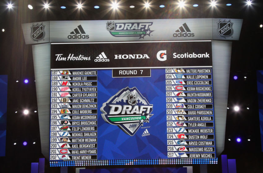 VANCOUVER, BRITISH COLUMBIA - JUNE 22: A view of the Round Seven draft board during the 2019 NHL Draft at Rogers Arena on June 22, 2019 in Vancouver, Canada. (Photo by Bruce Bennett/Getty Images)