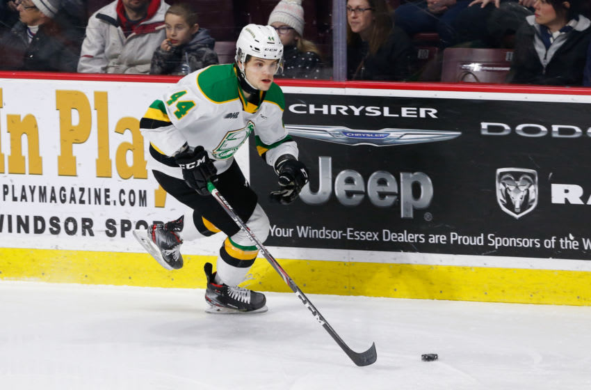 WINDSOR, ONTARIO - FEBRUARY 20: Forward Jonathan Gruden #44 of the London Knights moves the puck against the Windsor Spitfires at WFCU Centre on February 20, 2020 in Windsor, Ontario, Canada. (Photo by Dennis Pajot/Getty Images)