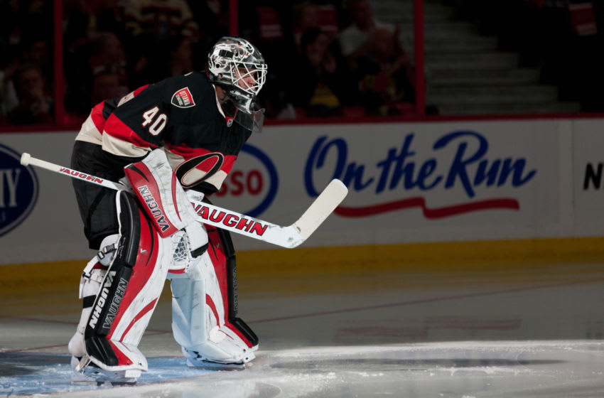 OTTAWA, ON - OCTOBER 19: Robin Lehner #40 of the Ottawa Senators looks on during player introductions prior to an NHL game against the Edmonton Oilers at Canadian Tire Centre on October 19, 2013 in Ottawa, Ontario, Canada. (Photo by Jana Chytilova/Freestyle Photography/Getty Images)
