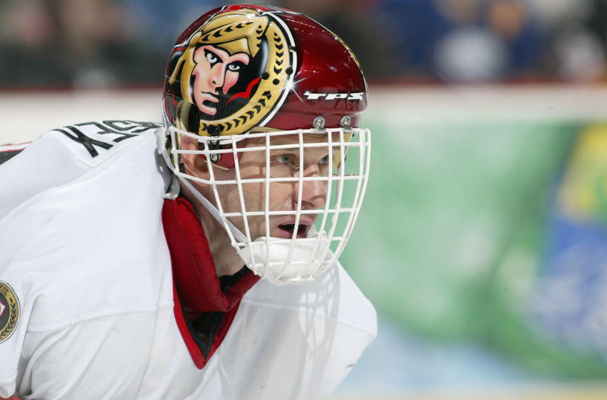 BUFFALO, NY - FEBRUARY 4: Dominik Hasek #39 of the Ottawa Senators looks on against the Buffalo Sabres on February 4, 2006 at HSBC Arena in Buffalo, New York. The Sabres won 2-1 in a shootout. (Photo by Rick Stewart/Getty Images)