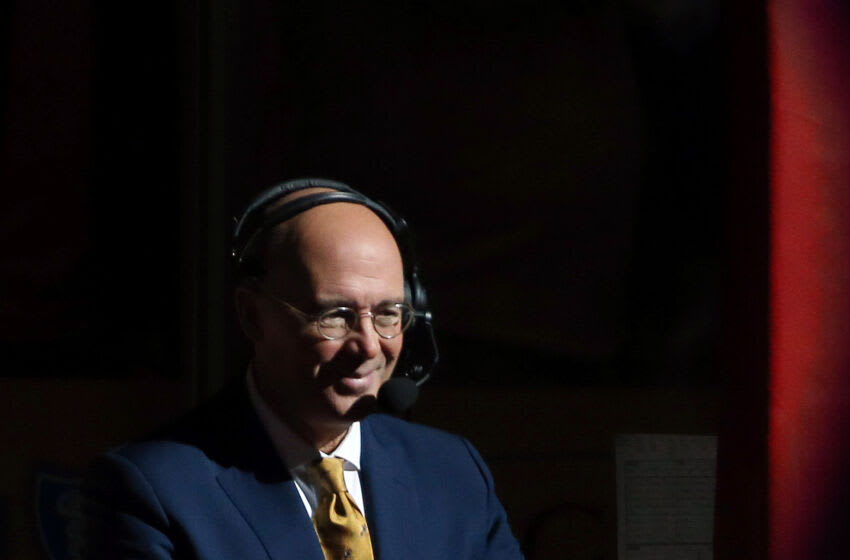 May 7, 2018; Pittsburgh, PA, USA; NHL network color analyst Pierre McGuire performs the pregame show before the Pittsburgh Penguins host the Washington Capitals in game six of the second round of the 2018 Stanley Cup Playoffs at PPG PAINTS Arena. The Capitals won 2-1 in overtime to win the series 4 games to 2. Mandatory Credit: Charles LeClaire-USA TODAY Sports