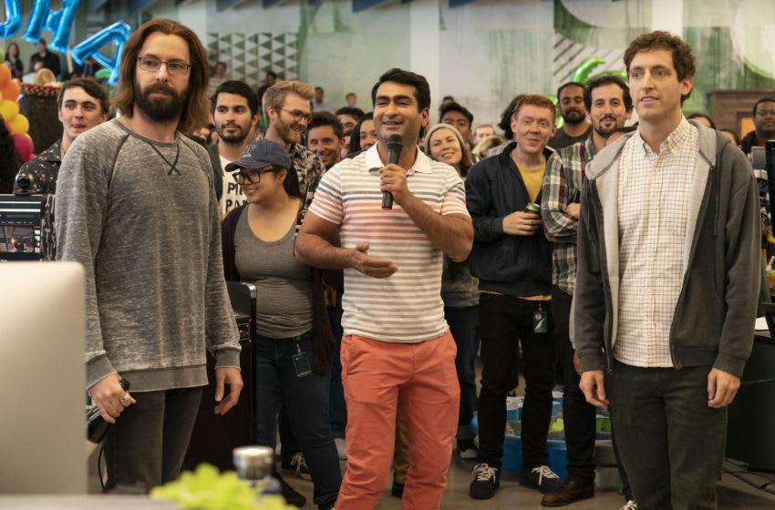Silicon Valley Season 6, Episode 1. Martin Starr, Kumail Nanjiani, Thomas Middleditch. Photo: Ali Paige Goldstein