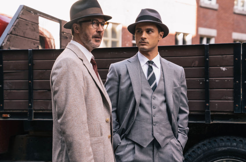 "L-R: Aidan Gillen as Dr. J. Allen Hynek and Michael Malarkey as Captain Michael Quinn in HISTORY's ""Project Blue Book."""