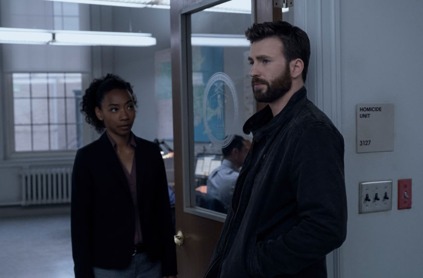 Betty Gabriel and Chris Evans in Defending Jacob, premiering May 15 on Apple TV+